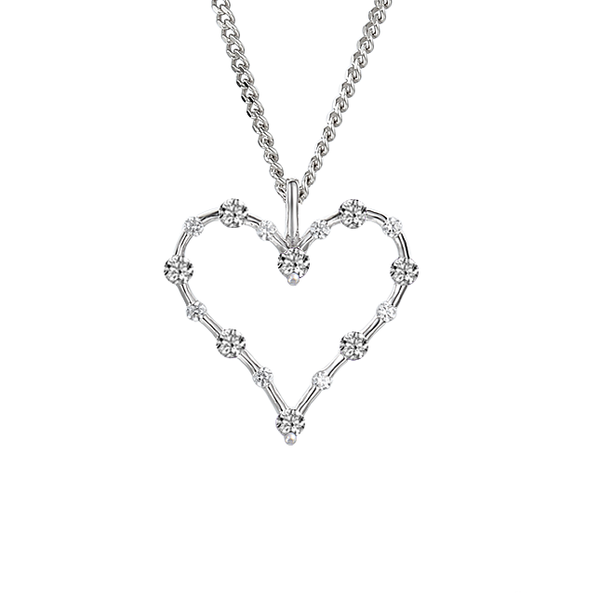 Sterling Silver & CZ Light Up My Heart Necklace by Amore