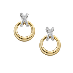 amore kiss and circle 9ct gold diamond earrings