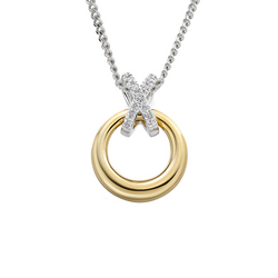 9ct Yellow & White Gold Diamond Kiss Pendant