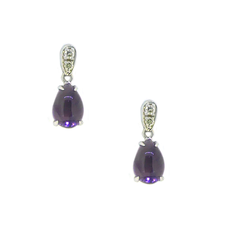 Amethyst & Diamond Drop Earrings 9ct White Gold