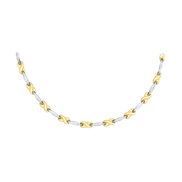 9ct 2 Colour Gold Diamond Cut 'Bar and Kiss' Link Necklace