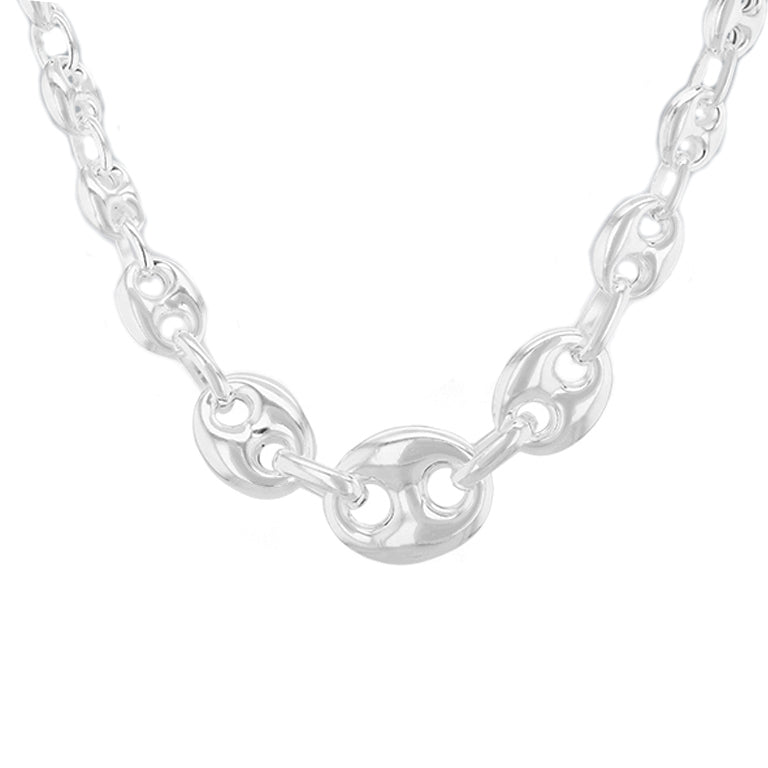 Sterling Silver 6.4mm - 12mm Graduated Rambo Chain Necklace 46cm/18""