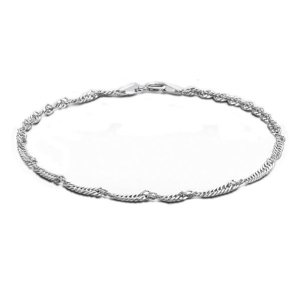 Sterling Silver Twist Curb Anklet