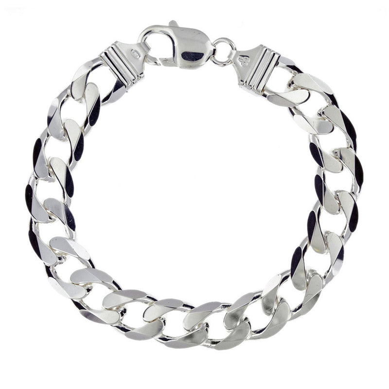 Sterling Silver Men's Chunky 36gm Curb Bracelet