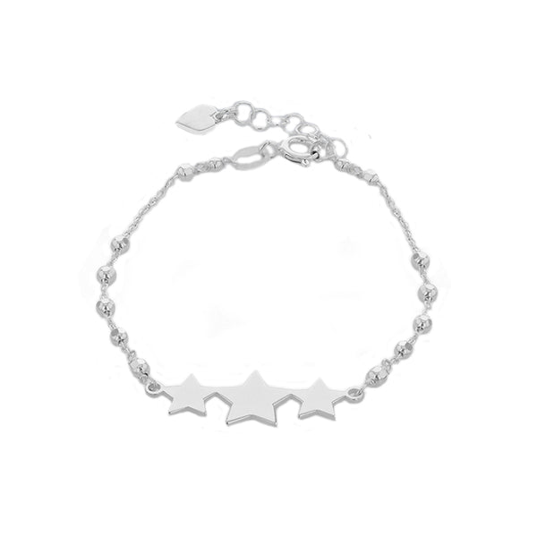 Sterling Silver Triple-Star Diamond Cut Balls Adjustable Bracelet