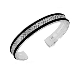 Sterling Silver Men's Black Leather and Satin Herringbone Bangle
