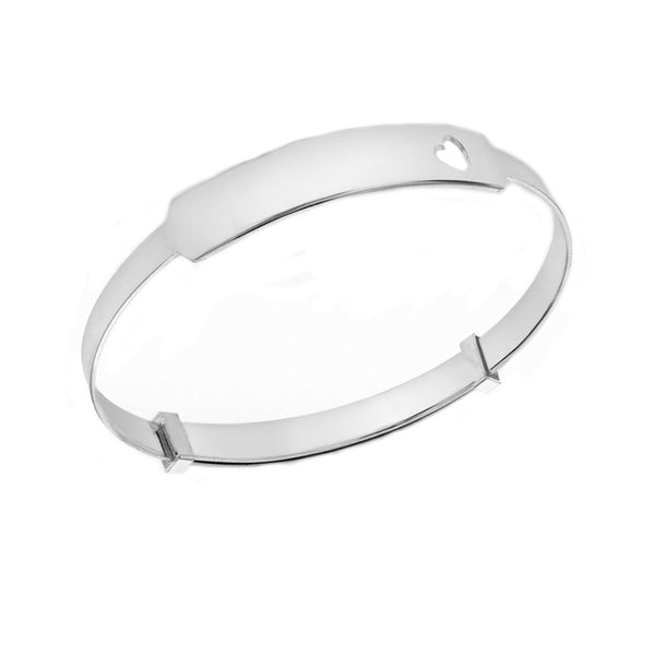Sterling Silver ID Heart Extendable Baby Bangle