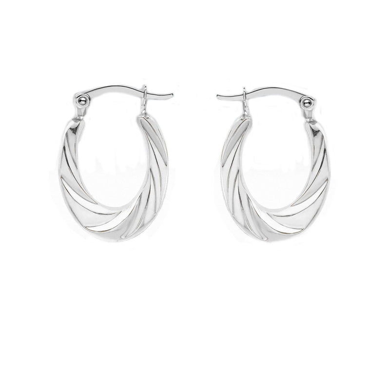 Sterling Silver 19.3mm x 26mm Twisted Oval Creole Earrings