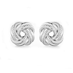 Sterling Silver 8mm Textured-Knot Stud Earrings