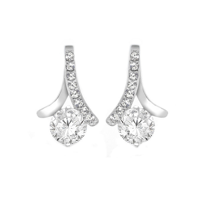 Sterling Silver CZ Bell Drop Stud Earrings