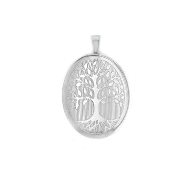 Sterling Silver Rhodium Plated Oval 'Tree of Life' Locket