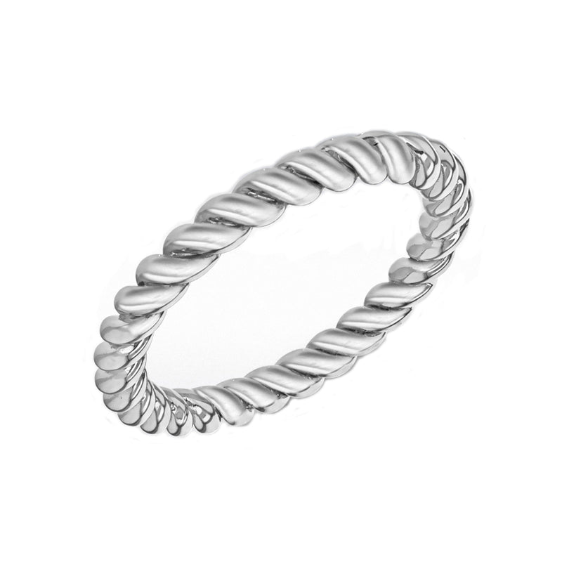 Sterling Silver Oxidised Twist Stacking Ring