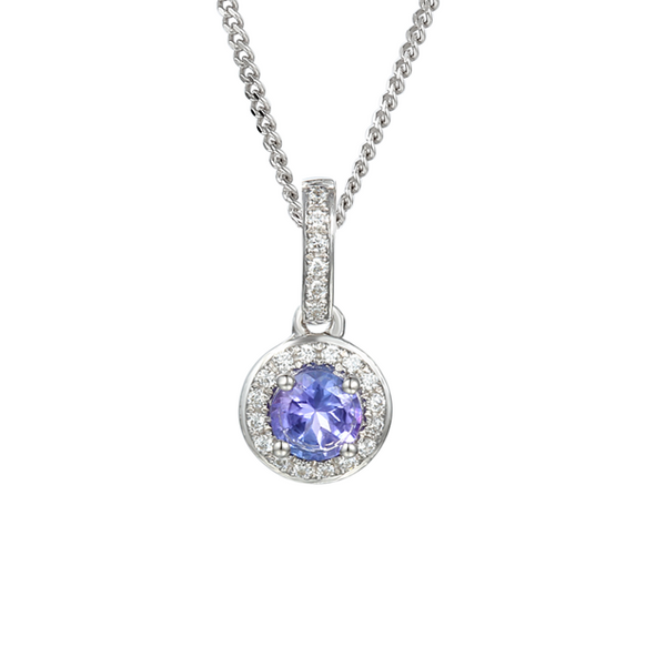 Tanzanite & Diamond Necklace 9ct White Gold