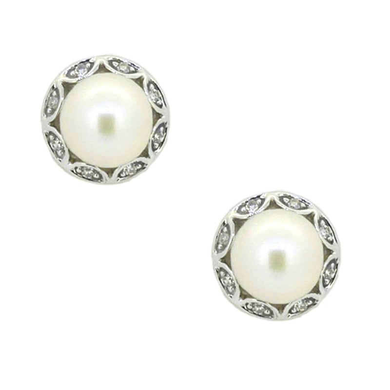 9ct White Gold Pearl & Diamond Stud Earrings
