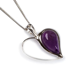 "Henryka Half Love Heart in Silver and Amethyst - 18""/45.5cm"