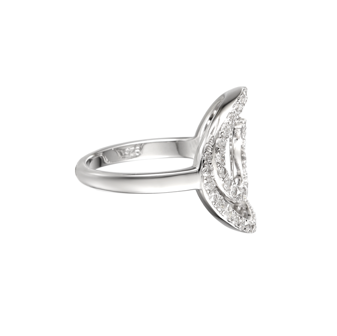 Amore Silver Swirly Curl CZ Ring 9064SILCZ side