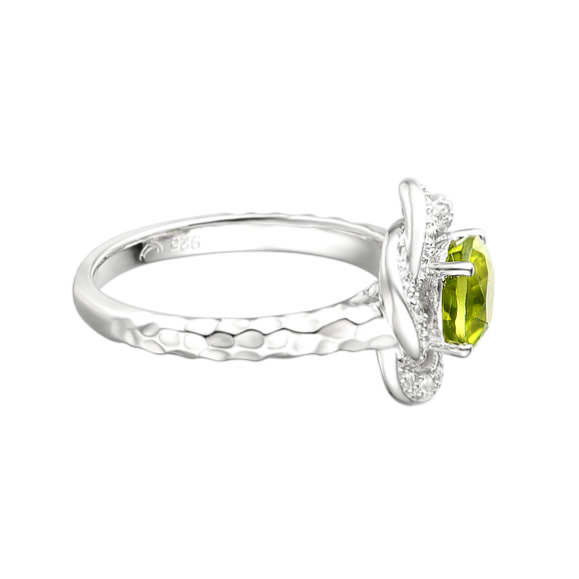 Peridot & CZ Cluster Ring by Amore side