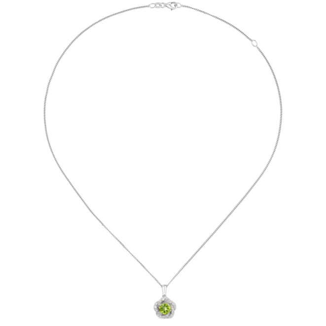 Peridot & CZ Cluster Necklace by Amore 9095SILCZ/PER chain