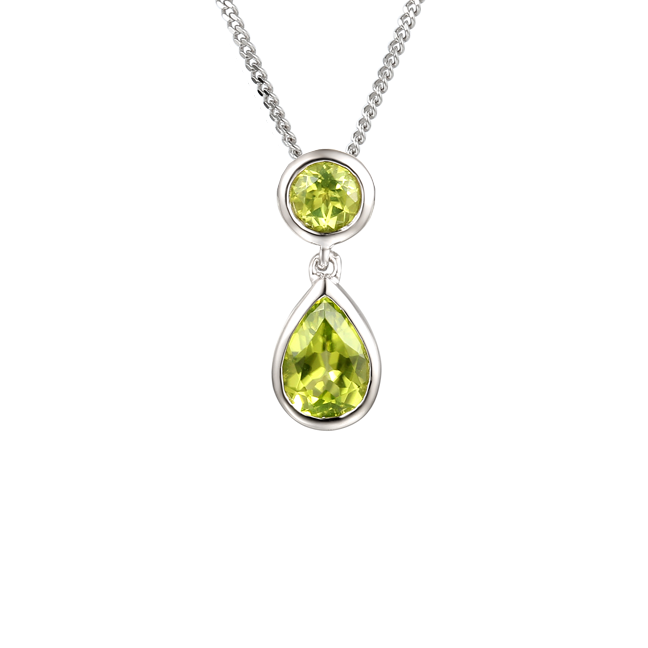 Sterling Silver Peridot Drop Necklace by Amore 9105SILPER