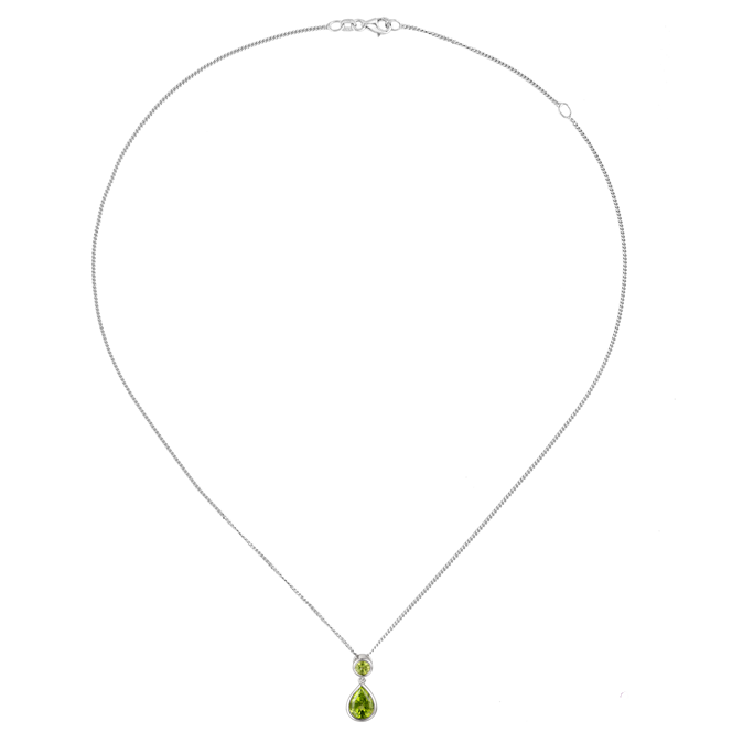 Sterling Silver Peridot Drop Necklace by Amore 9105SILPER chain