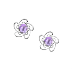 Silver Amethyst Clip On Earrings by Amore