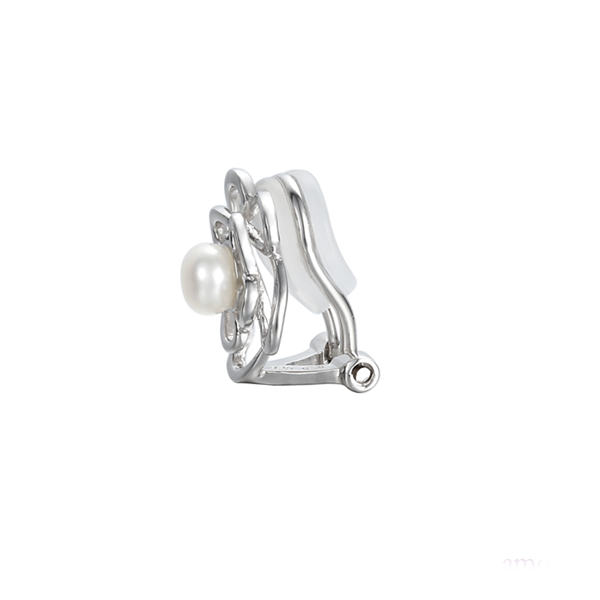 Silver Pearl Clip On Earrings by Amore