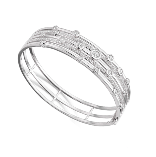 5 Row Cubic Zirconia Sterling Silver Bangle