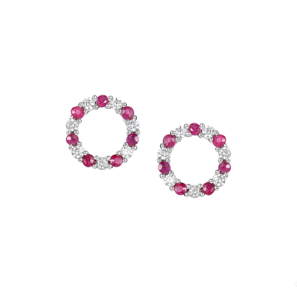 Circle of Life Ruby & CZ Earrings Sterling Silver