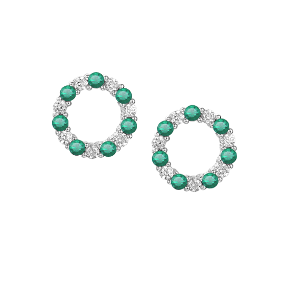 Circle of Life Emerald & CZ Earrings Sterling Silver