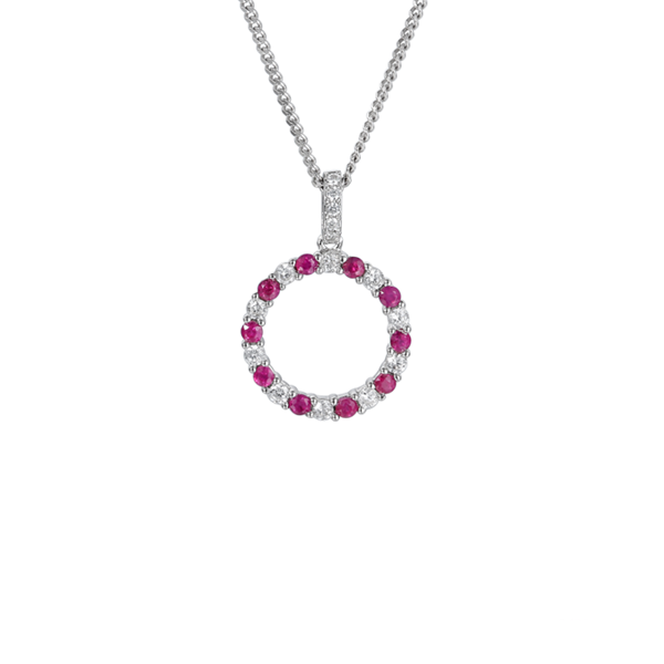 Circle of Life Ruby & CZ Necklace Sterling Silver