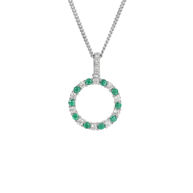 Circle of Life Emerald & CZ Necklace Sterling Silver