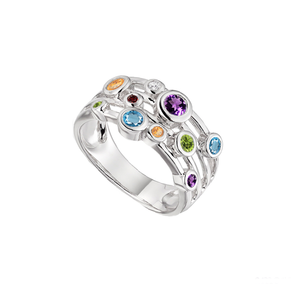 Sterling Silver Fantasia Mix Ring by Amore 9147SILMIX