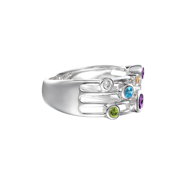 Sterling Silver Fantasia Mix Ring by Amore 9147SILMIX side