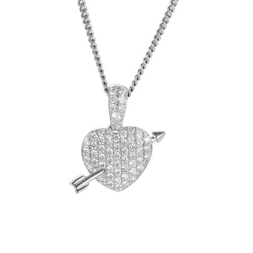 Sterling Silver & Pave CZ Arrow Heart Necklace by Amore
