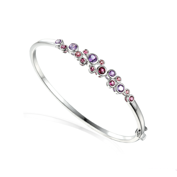 Multi Gem Sterling Silver Rhapsody in Pink Bangle by Amore