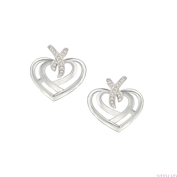 Love and Kisses Cute Sterling Silver Earrings