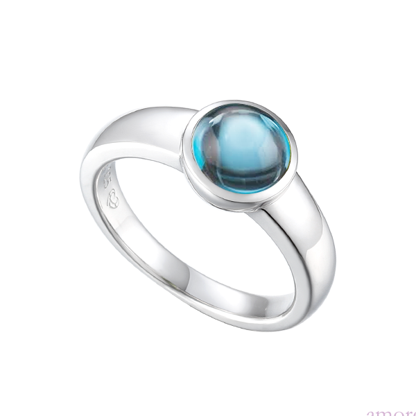 Snow Dome Blue Topaz Sterling Silver Ring by Amore