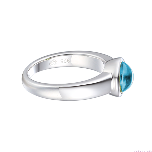 Snow Dome Blue Topaz Sterling Silver Ring by Amore side