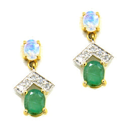9ct Gold Opal, Emerald & Diamond Drop Earrings