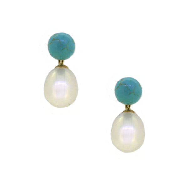 Fresh Water Cultured Pearl & Turquoise Drop Earring 9ct Gold
