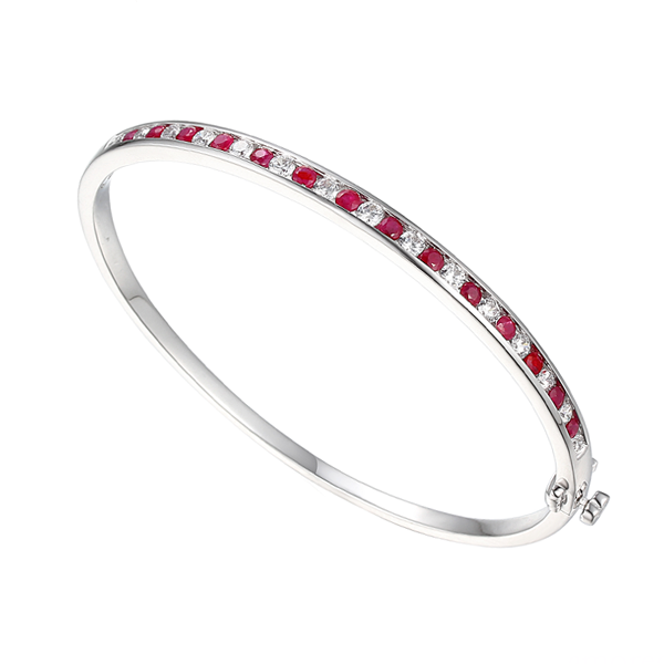 Amore Silver CZ & Ruby Claret Bangle 9218