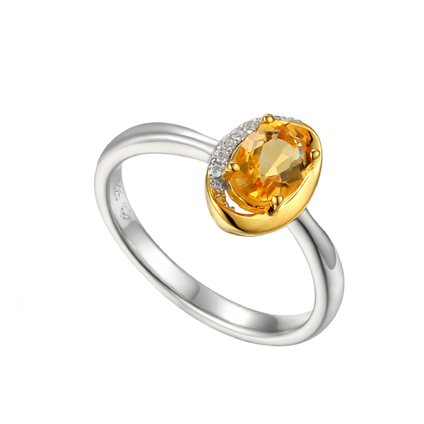 Amore Clementine Citrine & CZ Silver Ring 9220Y