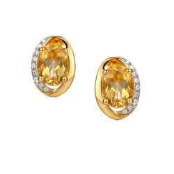 Citrine Clementine Earrings by Amore Silver GP
