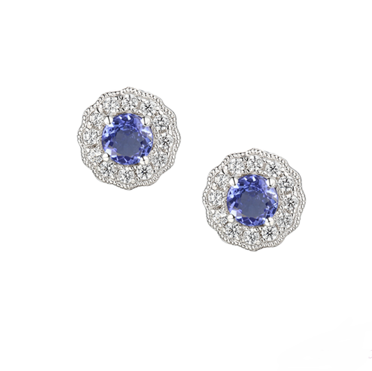 Amore Sterling Silver Tanzanite & CZ Earrings