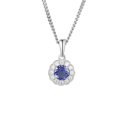 Amore Cool Blue Silver Tanzanite & CZ Necklace