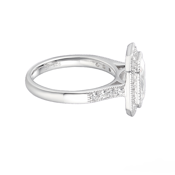 Amore Emerald Cut CZ Silver Ring 9239