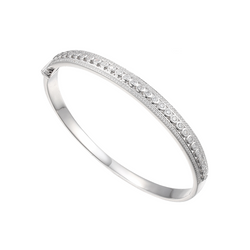 Amore Titanic Silver & CZ Bangle 9244