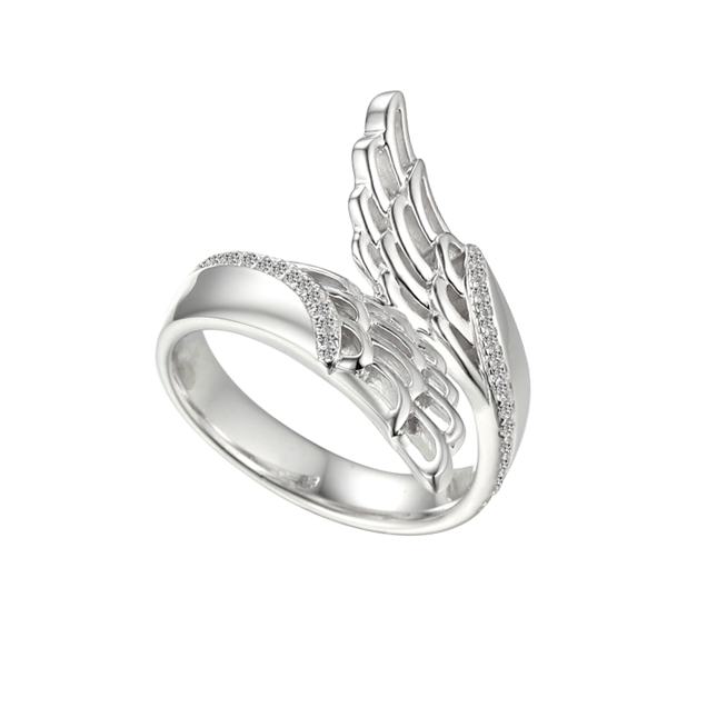 Sterling Silver & CZ Angel Wing Ring by Amore