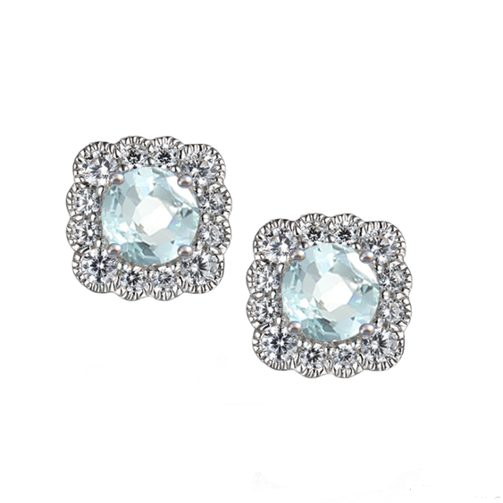 Aquamarine Silver CZ Earrings
