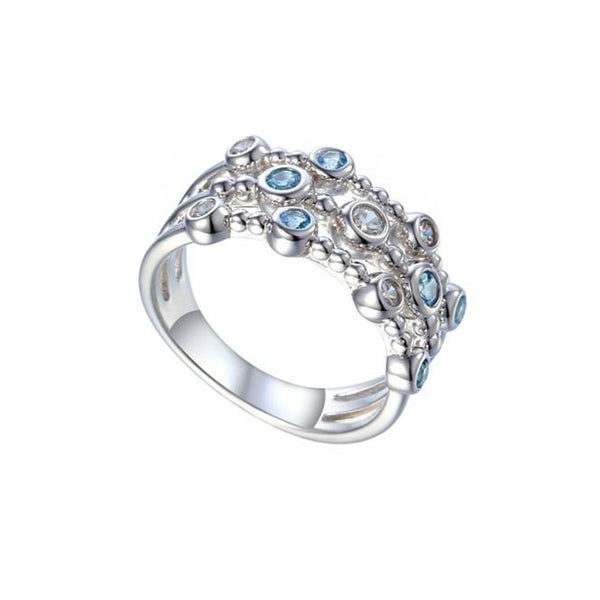 Curio Ring by Amore Blue Topaz & CZ Sterling Silver